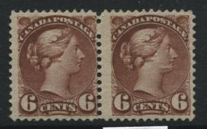 Canada 1888 6 cent red brown Small Queen mint NH pair