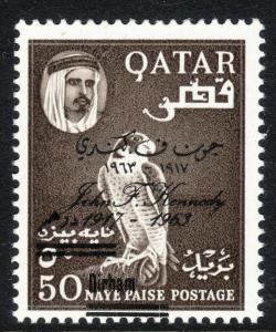 1966 Qatar revalued 50d on 50np JFK overprint Falcon issue perf 14½ MNH Sc# 111