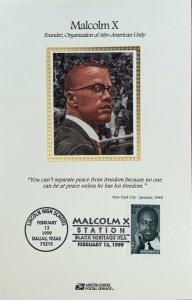 USPS Souvenir Card 3273 Malcolm X Station Lincoln High School Dallas Texas