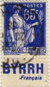 FRANCE - 1937 Pub BYRRH (Français) inférieure sur Yv.365b 65c Paix - obl. TB