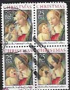 US Christmas  #2399 used block.  Mary & Baby Jesus