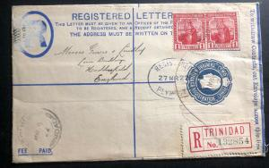 1922 Trinidad & Tobago Registered Letter Stationery Cover To Huddersfield Englan