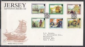 Jersey, Scott cat. 587-592. Chinese Adventure issue. First day cover.