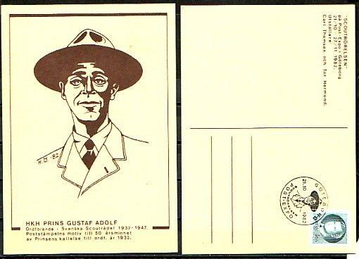 Sweden, 21/OCT/82 cancel. Prince Gustav as Scout on cachet on Post Card