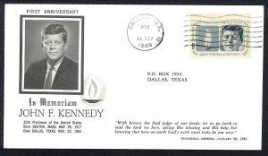 U.S.A. Sc##1246 John F. Kennedy Porter, Maine (1964) Memoriam Cover