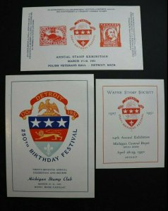 Wayne Stamp Society Philatelic Souvenir Label Ad Set 3 1951 Detroit 250th bday