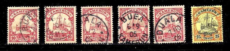 Cameroun German Dominion Scott #8x5 copies and #11 ,used, notable cancels