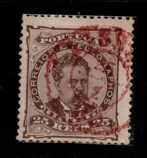PORTUGAL Scott 60 b King Luiz perf 13.5 Red double ring town cancel
