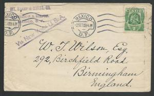 MEXICO 1909 stamp delaer cover to Birmingham, UK...........................10609