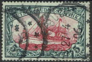 GERMAN SOUTH WEST AFRICA 1901 YACHT 5MK NO WMK USED