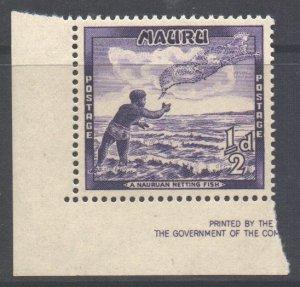 Nauru Scott 39 - SG48, 1954 Nauruan Net Fishing 1/2d MH*