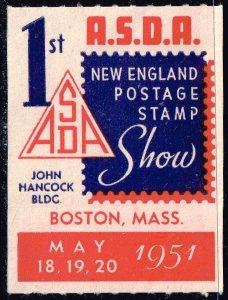 USA STAMP 1951 ASDA NEW ENGLAND STAMP SHOW POSTER STAMP
