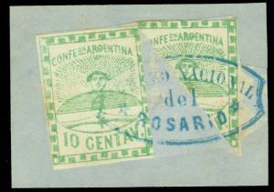 ARGENTINA 1858 Conf. 10c grn + BISECT Sc# 2+2f used w/ROSARIO cxl on piece RARE