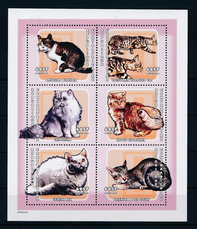 [26954] Central African Republic 2001 Animals Cats MNH Sheet