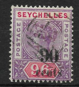 SEYCHELLES SG21 1893 90c ON 96c MAUVE & CARMINE USED