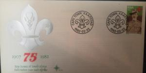 L) 1982 SOUTH AFRICA, BOY SCOUTS, 15C, 75TH ANNIVERSARY, 1907-1982, FDC