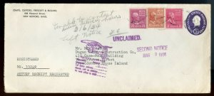 U.S. Scott 829, 815, 806 Prexies on 1954 Registered U534 Stamped Envelope