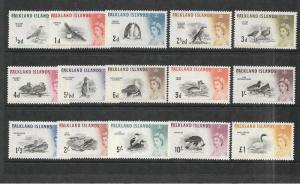 FALKLAND ISLANDS  1960-66  QEII  BIRDS SET 15  MLH  SG 193/207