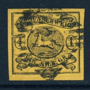 BRAUNSCHWEIG GERMANY 1853 1 Groschen Black on Brown-Buff IMPERFORATE SG 6 VFU