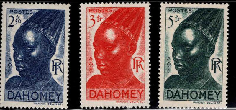 Dahomey Scott 130-132 MH* 1941 Warrior  stamps