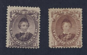 Newfoundland  Stamp #32-1c #32a-1c Both MNG  Guide Value = $190.00