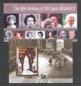 NW0342 SOLOMON ISLANDS QUEEN ELIZABETH II QEII 80TH BIRTHDAY KB+BL MNH