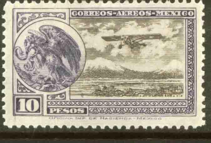 MEXICO C19 $10Pesos Early Air Mail Plane and coat of arms MNH