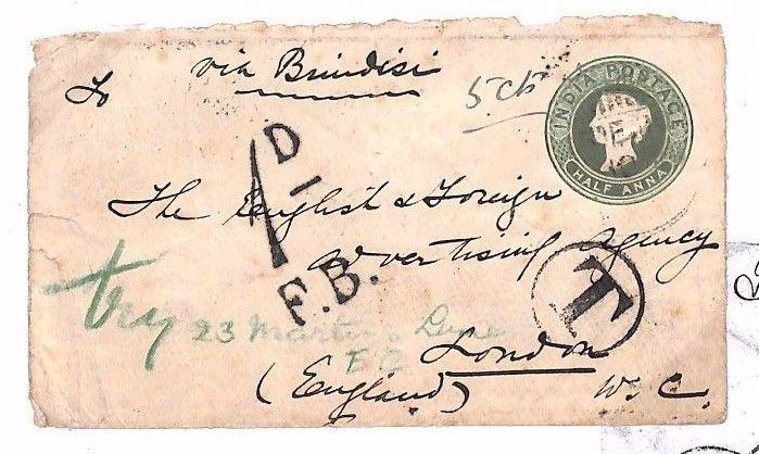 BE116 1901 INDIA Underpaid Postal Stationery GB London via Brindisi