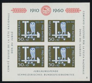 Switzerland B297 Plate 5 MNH Owl, T-Square & Hammer