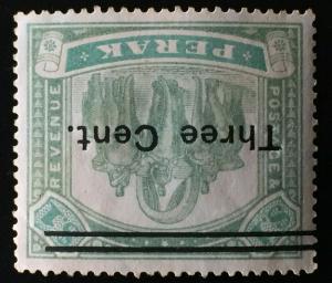 Malaya Perak 1900 Elephant & Howdah 3c opt $1 MNG Wmk Inverted SG#86w CV£400