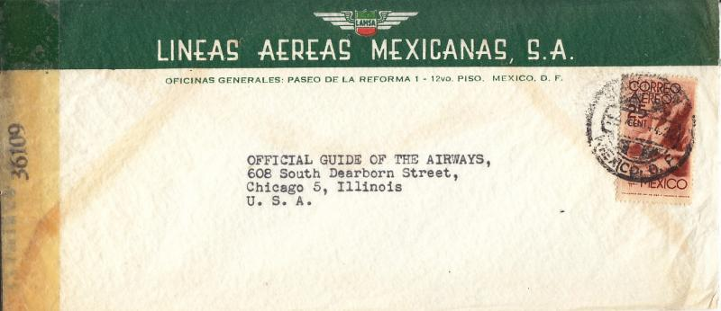 Mexico -Censored Cover on LAMSA Envelope