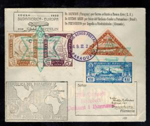 1932 Paraguay Graf Zeppelin Cover to Braunschweig Germany LZ 127 Star of David