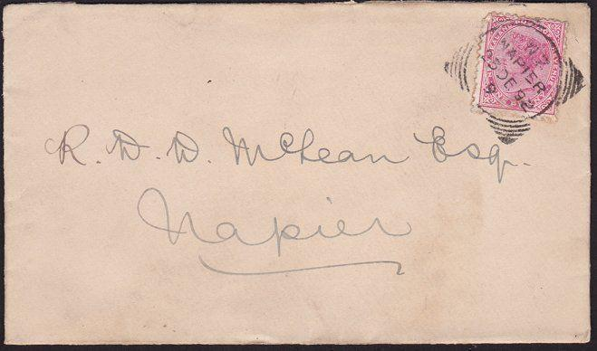 NEW ZEALAND 1892 cover NELSON squared circle, code 9 ......................68584