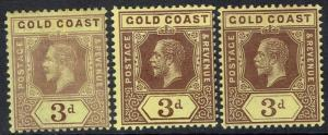 GOLD COAST 1913 KGV 3D - 3 DIFFERENT SHADES WMK MULTI CROWN CA