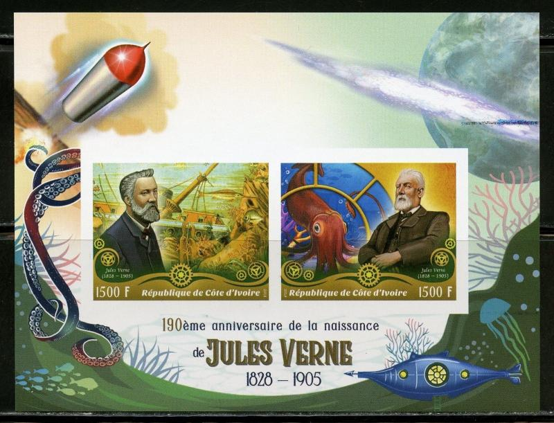 IVORY COAST 2018 190th  BIRTH ANN OF JULES VERNE IMPRF  SHEET OF TWO  MINT  NH