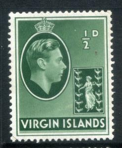 BRITISH VIRGIN ISLANDS;   1938 GVI issue fine Mint hinged 1/2d. SP-245635 SG 110