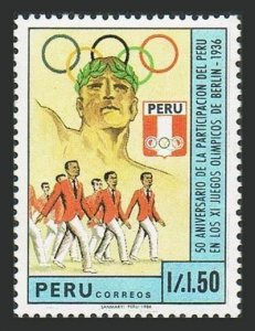 Peru 928 two stamps, MNH. Mi 1369. Peruvian Athletes in the Olympics 50, 1987.