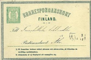 FINLAND - 1872 Postal Card - Michel 2b - Mariehamn Aland Islands to Abo grn ppr