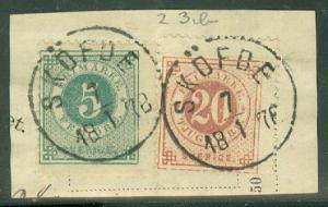 SWEDEN #23b (23) 5ore + 20ore DOUBLE PRINT tied on small piece, VF