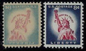 1042 -8c Scarce Reverse Offset Image Error / EFO Statue Of Liberty Mint NH