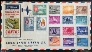 Malaya Singapore 1955 QEII Def Complete Set on QANTAS FDC SG#38-52 front only