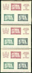 UNITED NATIONS : 1955. Scott #38. 3x Souvenir Sheets. Mint Never Hinged.