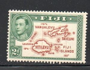 Fiji Sc 133 1942 2 d map with 180 stamp mint