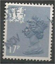 GREAT BRITAIN, WALES, Machins, 1984, used 17p blue gray, Scott WMH30