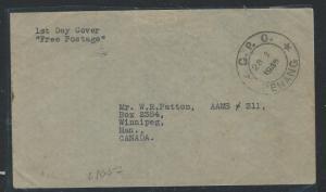 MALAYA PENANG  (P0812B) 1945 28 9 FREE POST FDC TO CANADA
