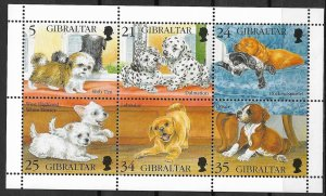 1996 Gibraltar 702 Puppies MNH S/S