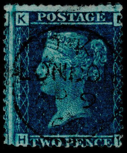 Sg45, 2d blue plate 12, FINE used, CDS. Cat £140. HK