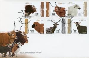 Portugal 2018 FDC Portuguese Breeds Cows Sheep Goat 6v Cover Farm Animals Stamps