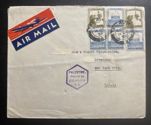 1939 Tel Aviv Palestine Airmail Censored Cover To Export Corp New York USA