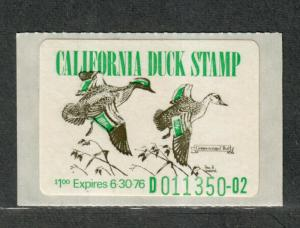California Sc#5 M/NH/VF, No Wavy Lines, State Duck Stamp, Cv. $140